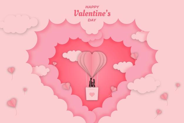 かわいいバレンタインピンクの愛の雲の背景