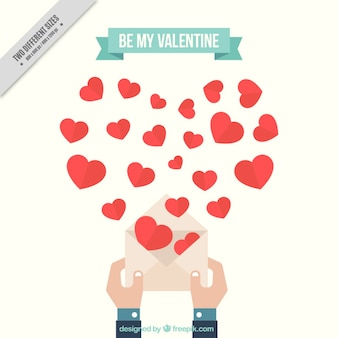 Cute valentine's background with hands holding an envelope