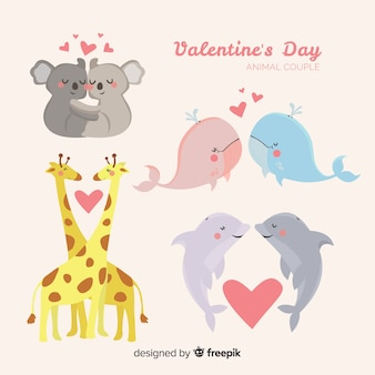 Cute valentine's day animal couple collection