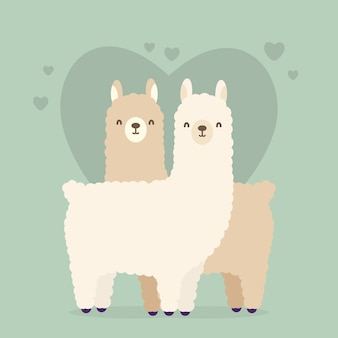 Cute valentine's day animal couple illustration