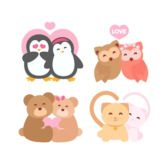 Cute valentine's day animal couple pack