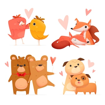 Cute valentine's day animal couple set