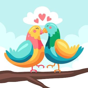 Милая пара животных на день святого валентина с птицами