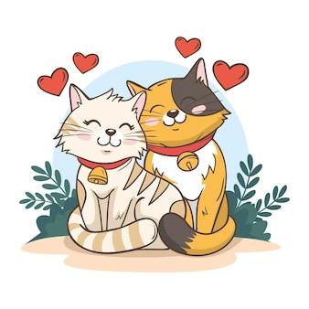 Coppia di animali di san valentino carino con i gatti
