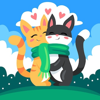 Cute valentine's day animal couple with cats
