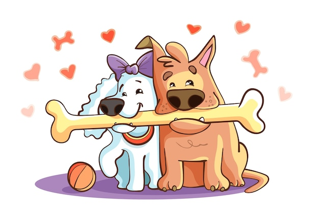 Cute valentine's day animal couple with dogs