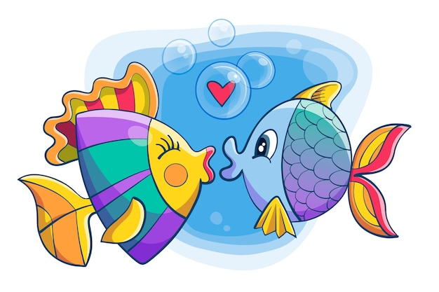 魚とかわいいバレンタインデーの動物カップル