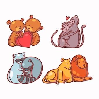 Cute valentine's day animal couple