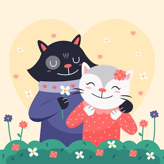 Cute valentine's day animal couple