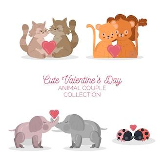 かわいいバレンタインデーの動物カップルコレクション