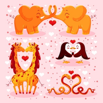 Cute valentine's day animal couples collection