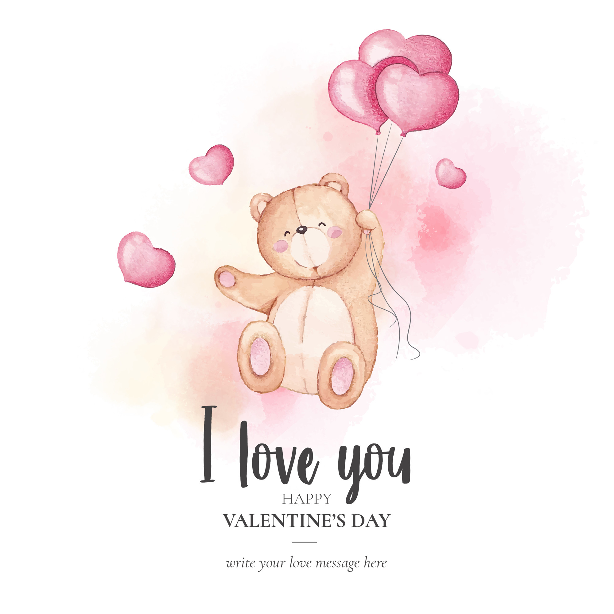 Cute Valentine's Day Background with Watercolor Teddy Bear