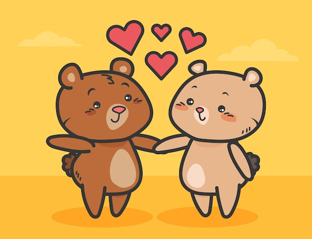 Cute valentine's day bear couple