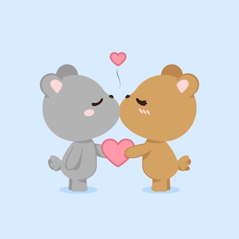 Cute valentine's day bears couple