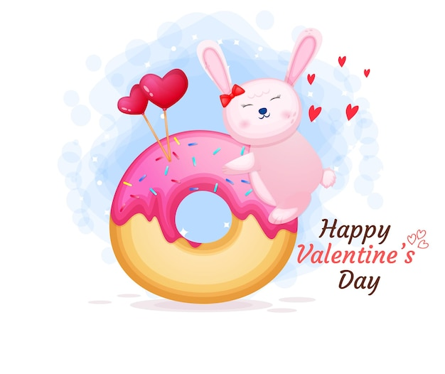 Милый зайчик на день святого валентина за сладким пончиком