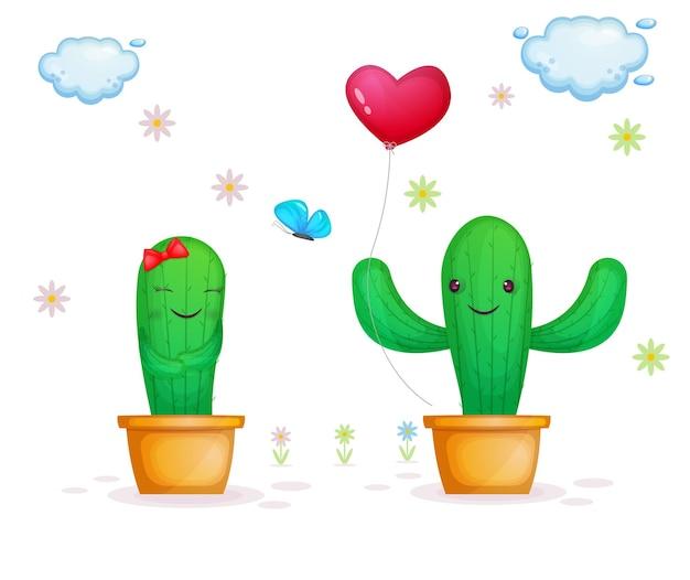 Милая пара кактусов на день святого валентина
