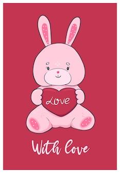 Милая карточка дня валентинки с игрушкой зайчика.