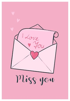 Милая карта дня святого валентина с любовным письмом.