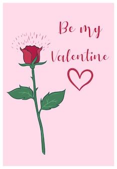 빨간 장미와 함께 귀여운 발렌타인 데이 카드.