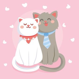 Милая пара кошек в день святого валентина