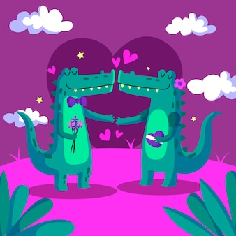 かわいいバレンタインのワニのカップル