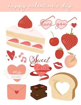 Insieme di elementi di san valentino carino