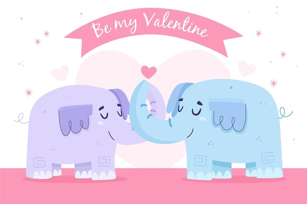 Cute valentine's day elephant couple