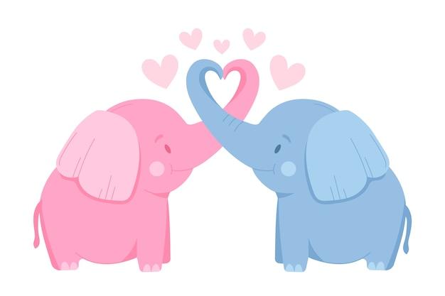 Милая пара слонов на день святого валентина