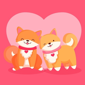 Милая пара лисицы дня святого валентина Бесплатные векторы