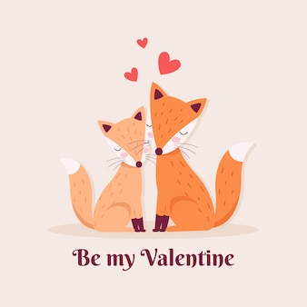 Cute valentine's day foxes couple