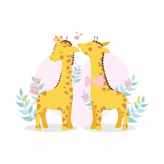 Cute valentine's day giraffe couple