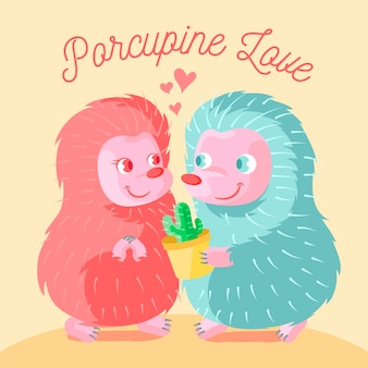 Cute valentine's day hedgehogs couple