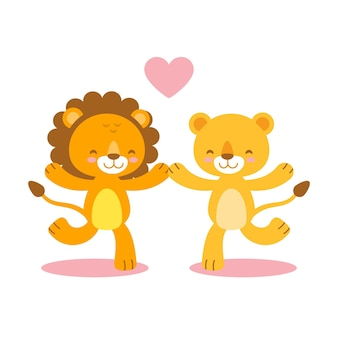 Cute valentine's day lions couple