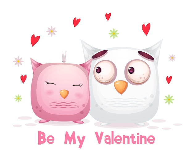 귀여운 발렌타인 데이 올빼미 커플