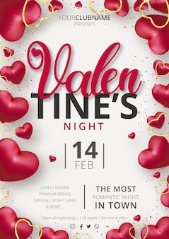 Cute valentine's day party poster event template with realistic hearts composition