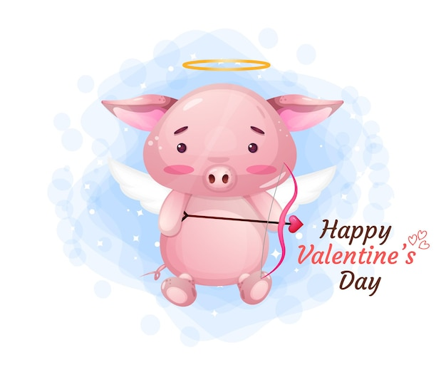 Cute valentine's day piggy angel character
