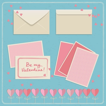 Cute valentine's day postcards and envelopes set in white and pink colors illustration