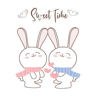 Милая пара кроликов дня святого валентина.