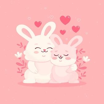 귀여운 발렌타인 데이 토끼 커플
