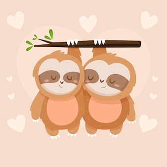 Cute valentine's day sloth couple
