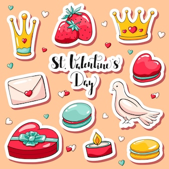 Cute valentine's day stickers in doodle style