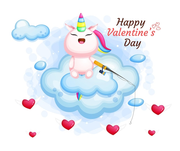Cute valentine's day unicorn fishing on the clouds