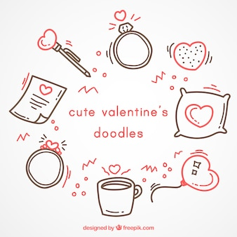 Cute valentine's doodles with red details