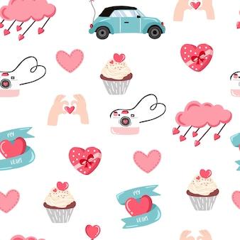 귀여운 발렌타인 원활한 패턴 f