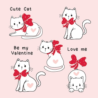 Cute valentine white cat with red ribbon bow clip art set, cartoon illustration element set
