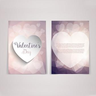 Cute valentines card in pink tones
