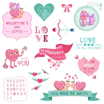 かわいいバレンタインデーと愛のセット