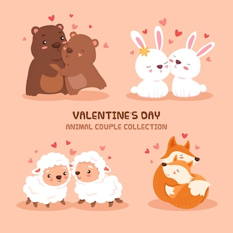 Cute valentines day animal couple collection