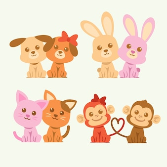 Cute valentines day animal couple illustrated