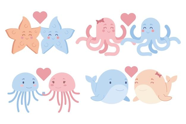 Cute valentines day animal couple illustration